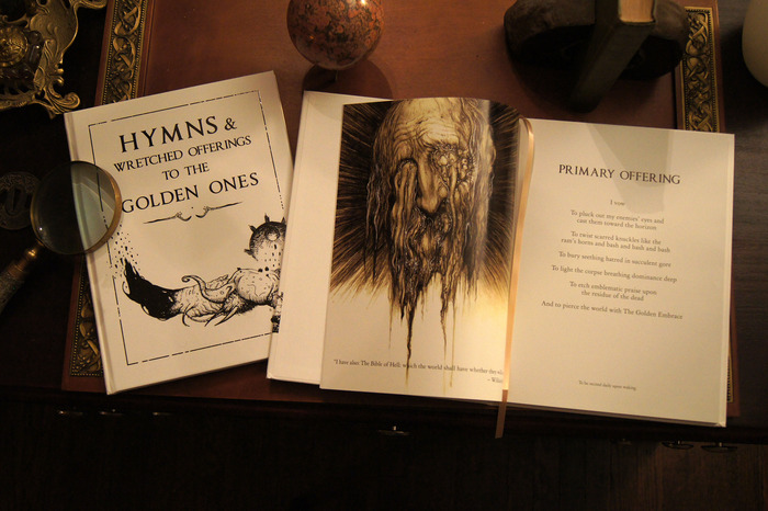 Cover and interior from Hymns & Wretched Offerings. Artwork by Jim Pavelec and Paul Komoda