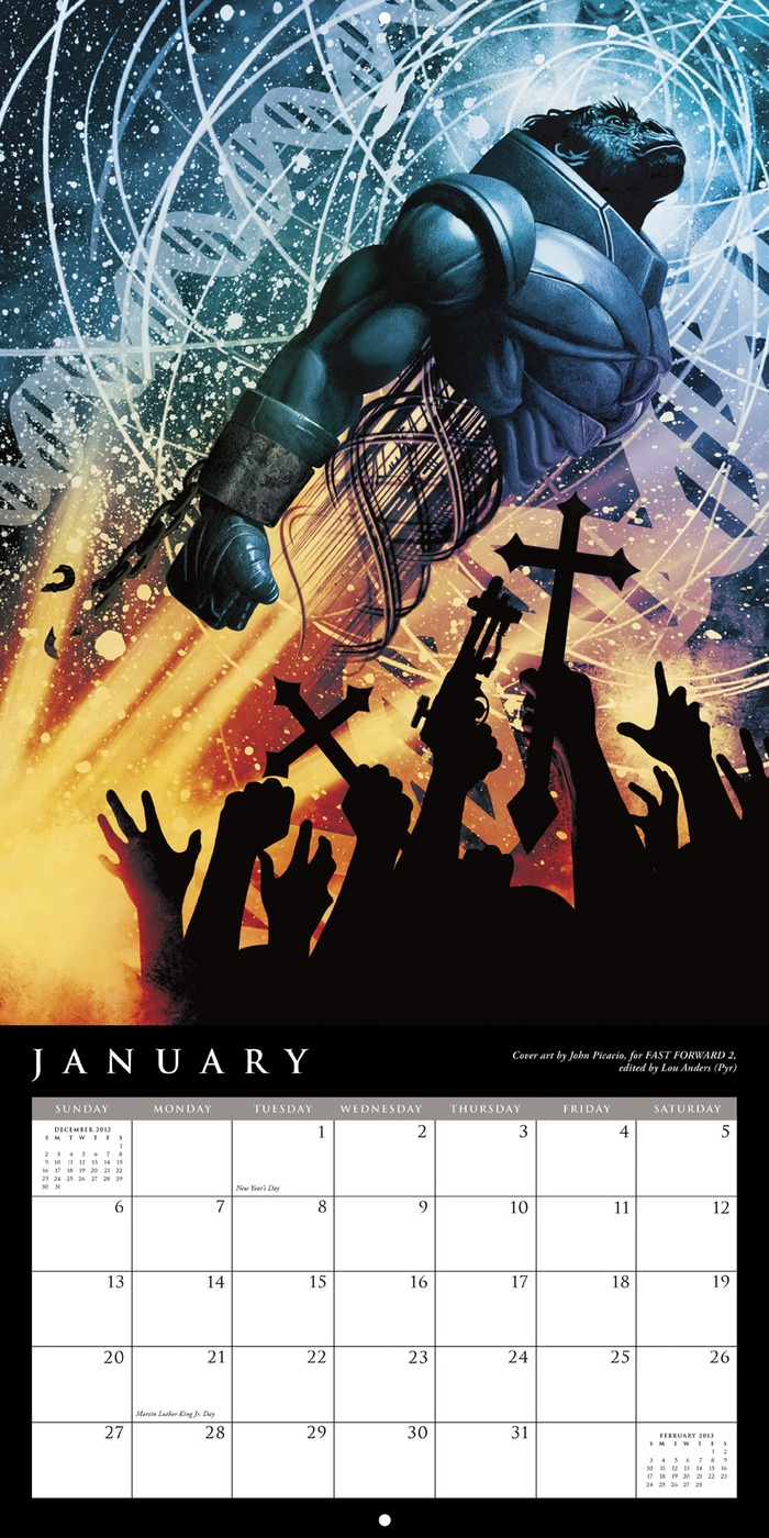 January layout from the 2013 John Picacio Calendar, featuring the Chesley Award-winning cover artwork for FAST FORWARD 2
