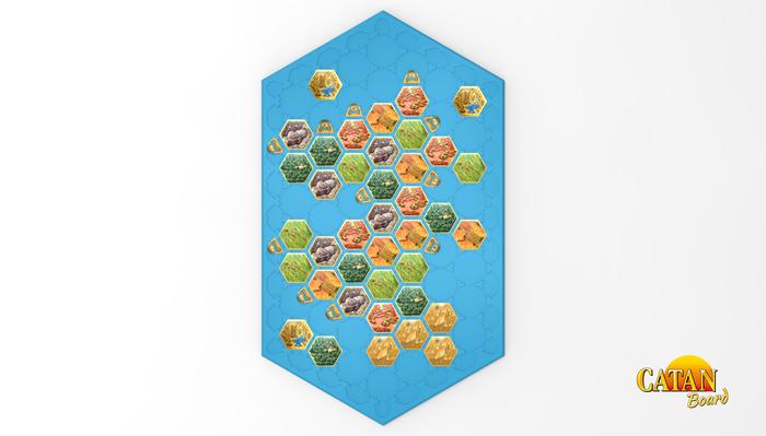 Seafarers 5-6 Player Wonders of Catan Scenario. Board is 8 hexes long.