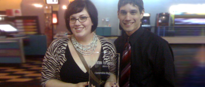 Kate & Daniel with an 'Honorable Mention' award, Ventura Film Festival 2011