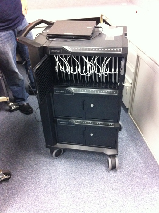 Sample Portable and Secure Tablet Cart, which allows Tablets to be connected to the School'sand/or District's  Local Area Network enabling the System Administrator to Update them easily by connecting to a PC.