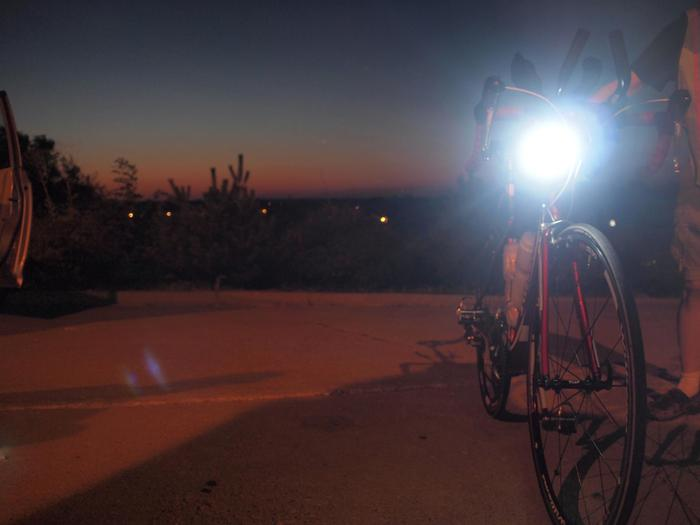"""""""I have a feeling we're not in Kansas anymore"""", as Joan Deitchman's Race Across America bike is prepped after entering Missouri for another 12 hour overnight of nonstop riding, and nonstop lighting."""