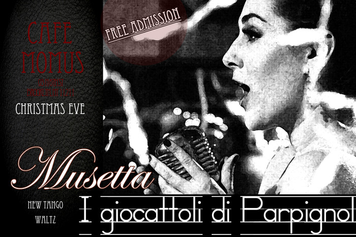 Invitation to Musetta's performance at Cafe Momus