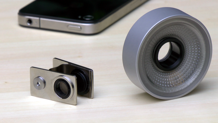The PhoneScope 3D is a two part device. Lens Clip (left) and Light Lens (right)
