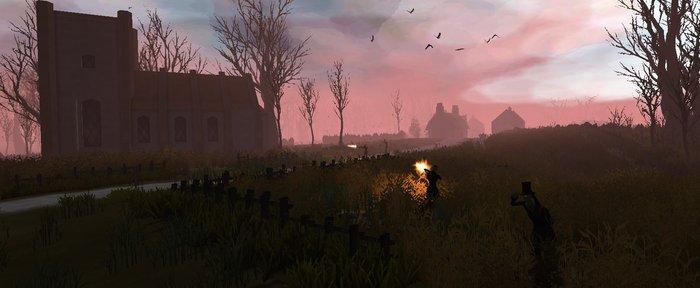 Hunters stalk the player through crop fields.
