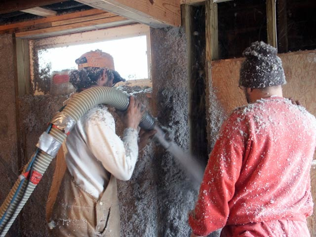 Deep-energy retrofit using blown in cellulose. Wall thicknes varies with climate.