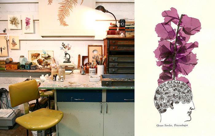 """Alison's studio and here collage """"Orson Fowler, phrenologist"""""""
