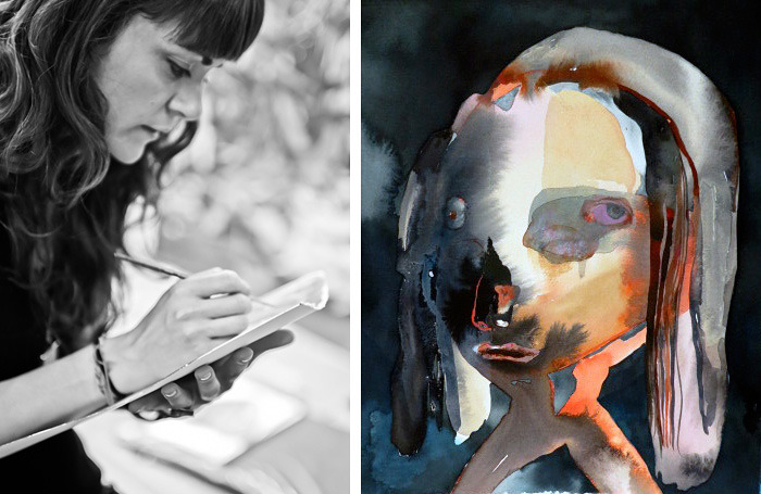 """Maja at work and her watercolor """"Blue Girl""""."""