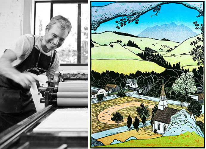 Tom at work on the press and his woodcut print of the Nicasio valley.
