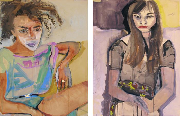 Two recent portraits by Zina Al-Shukri.