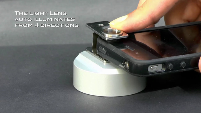 3D surface scanning. Light Lens is placed over the object