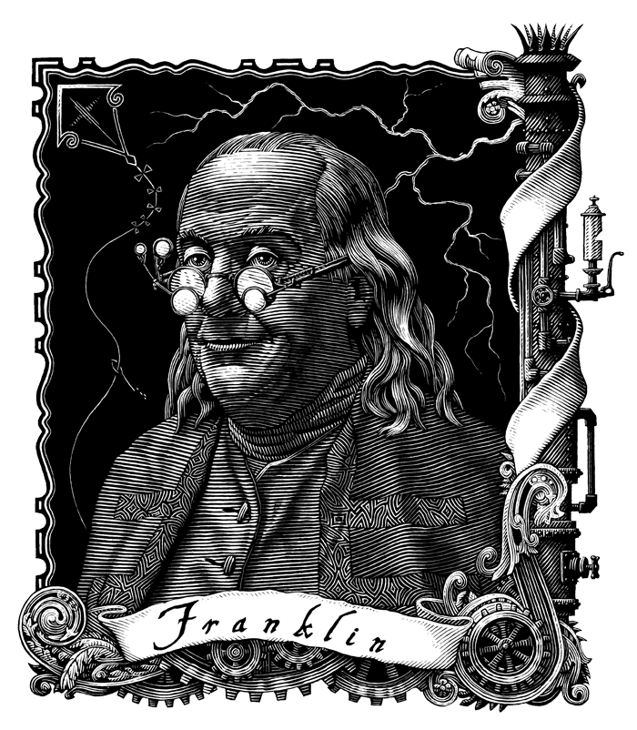 Portrait of Benjamin Franklin by Patrick Arrasmith