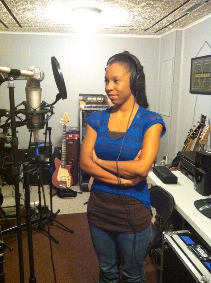 """Nicole laying vocal tracks for """"Time"""""""