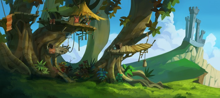 Concept art of Treehouse Village for Dizzy Returns