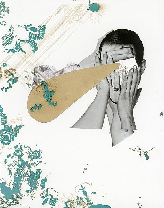 """""""Gold Digger"""" by Julie Berkbuegler, 2012, magazine, laser cutter, fingernail polish, spray paint 14x17"""