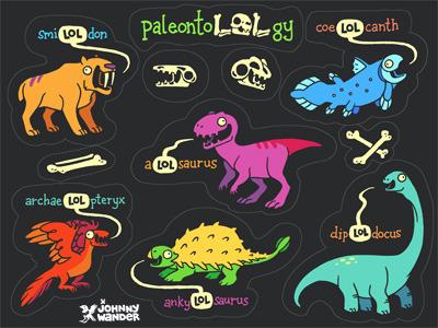 PaleontoLOLgy sticker sheet