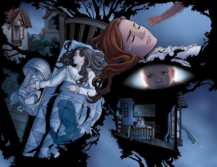 "2 page spread preview (unlettered) This part adapted from ""The Little White Bird"""