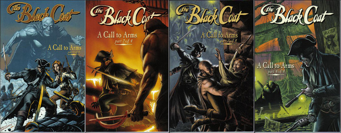 "Issues 1-4 of ""A Call to Arms."" Art by Francesco Francavilla."