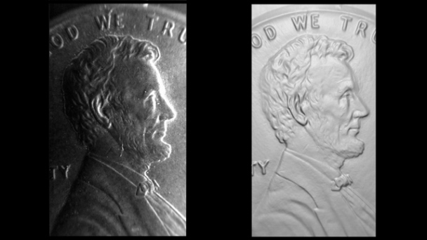 Add dimension. iPhone photo (left) and 3D surface scan impression (right)