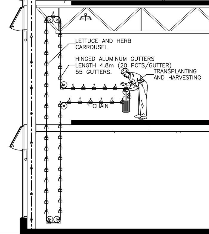 Drawing of rotating growing carousel