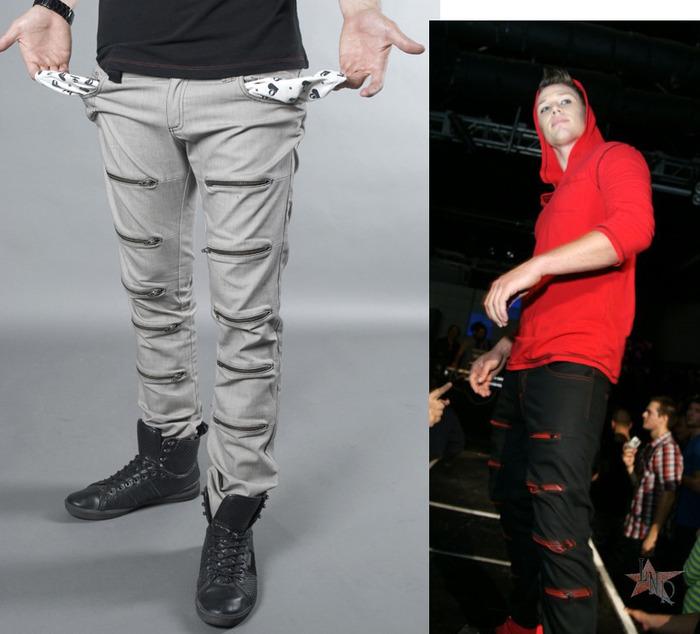 Zipskinny Jeans, Men's/Women's (colors:red,gray,blue,white,black) sizes: 22-34 // Hoodie, Men's/Women's (colors:gray/white striped,black,red,white,blue) sizes: XS-XL