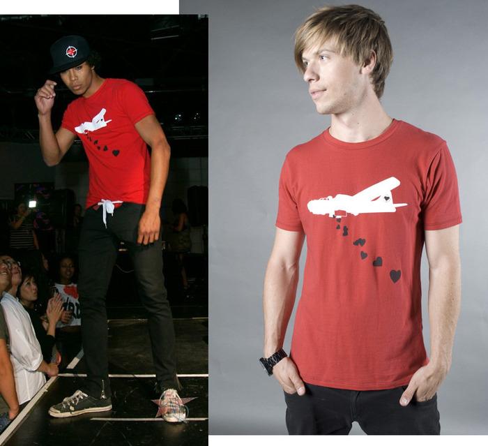 Heart Bomber Crew Neck Graphic T-Shirt, Men's (colors:black,red,white,blue) sizes: S-XL // Skinny Jeans, Men's/Women's (colors:red,gray,blue,white,black) sizes: 22-34