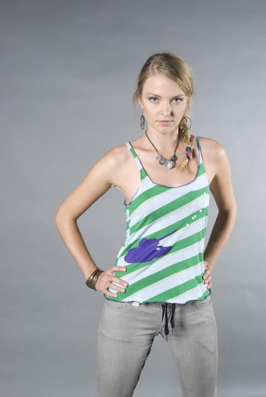 Heart Blaster Tank Top, Women's (colors:green stripe,black/gray stripe,blue stars on white) sizes: XS-XL