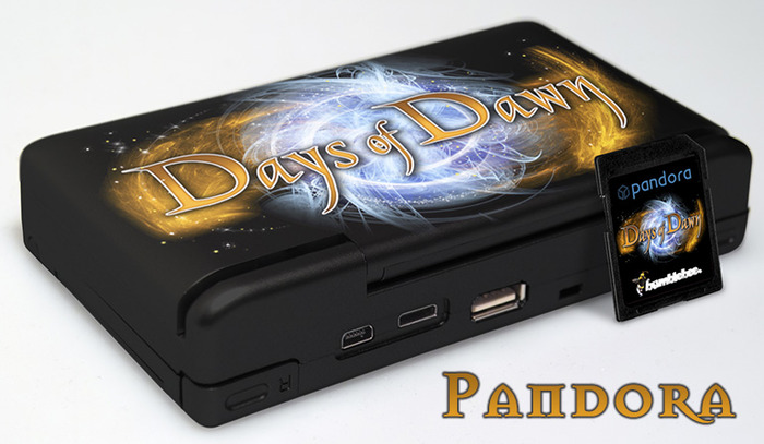 """A stunning limited edition custom 1GHz Pandora, limited to 10 devices worldwide, coming in a beautiful Days of Dawn look and signed by """"EvilDragon"""", one of the device's developers inside of the handheld"""