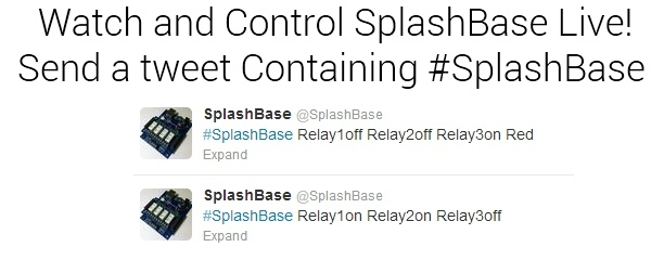 Watch the live video feed while tweeting to control the SplashBase
