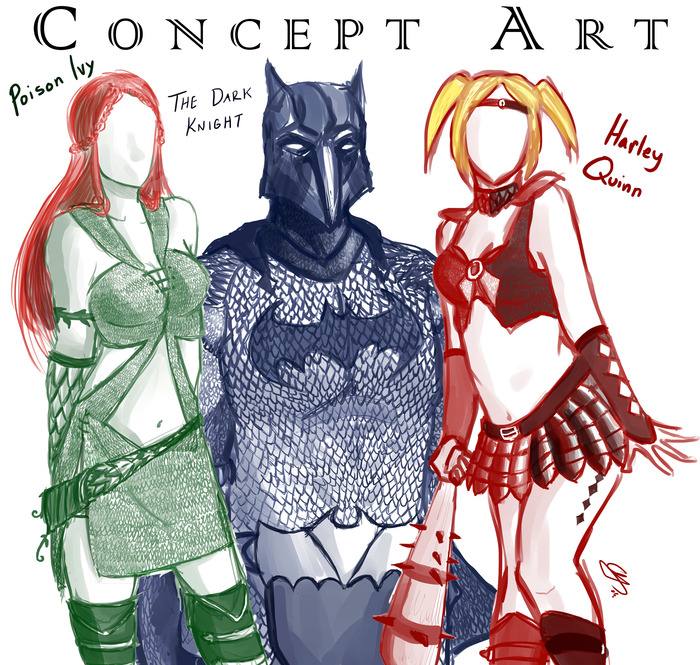 Early Concept of Batman, Poison Ivy and Harley Quinn