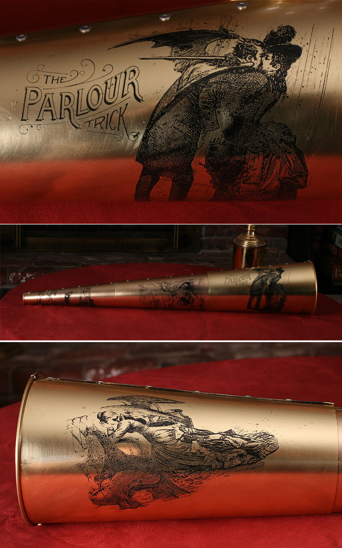 """THE SPIRIT TRUMPET: Limited edition, acid-etched, painstakingly hand-wrought brass trumpet by Jake Von Slatt of the Steampunk Workshop, featuring panels from Max Ernst's """"Une semaine de bonté""""."""