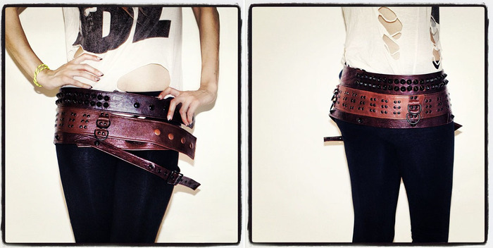 """THE MOTHER OF LONDON: A stunning, multi-faceted, one-of-a-kind brown Mother of London """"Three-Belt"""", custom made by world-acclaimed fashion designer Mildred Von expressly for this Kickstarter. Soft, pliable mixed kidskin with mixed metal fixtures and studs"""