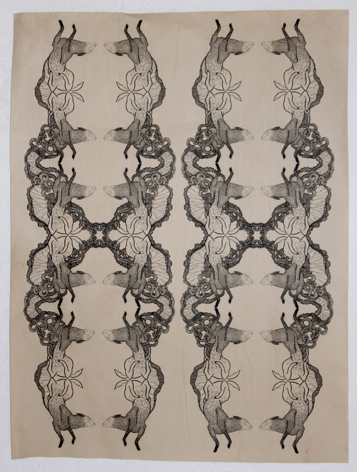 """""""Unfolding with sheep"""" by Alida Bevirt, inkjet print on stained paper, approx 18 x 30, Unframed"""