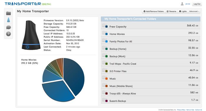 Screenshot of Transporter Management Software