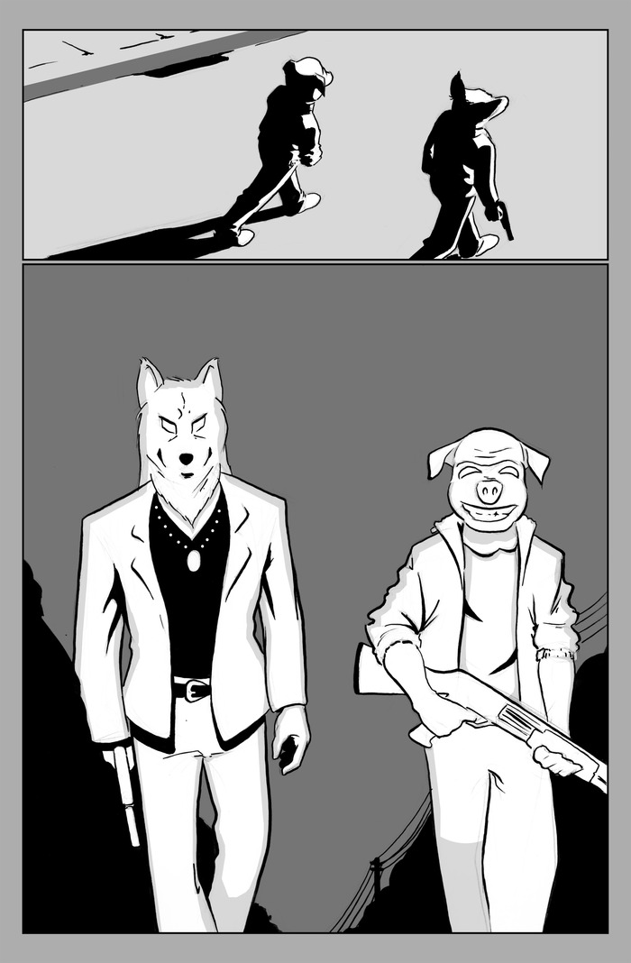 Sample Panel - Drawn by artist Daniel Hooker (Final book will be in color)