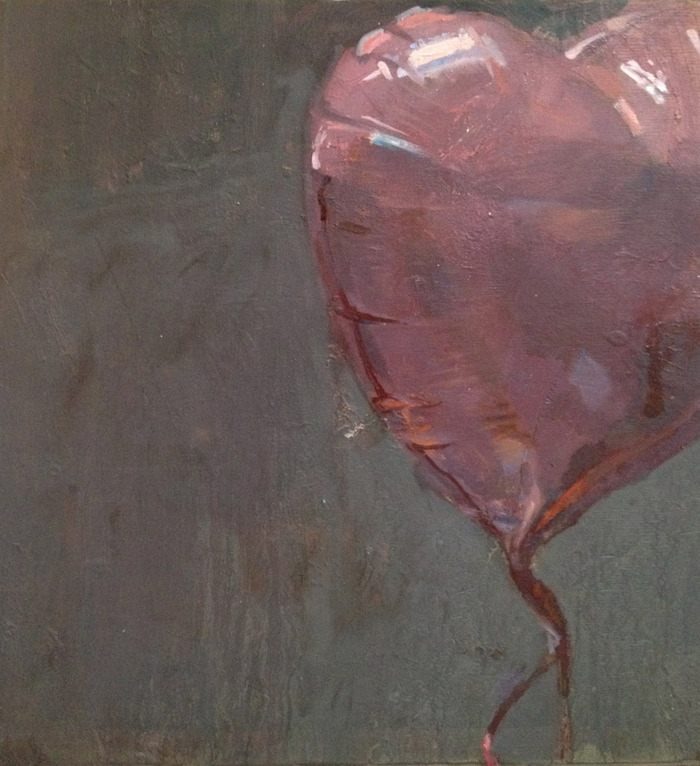 """""""Balloon 45"""" by Marshall Roemen, oil on birch panel, 12"""" x 12"""", from Roemen's """"Red Shiny Things"""" series"""