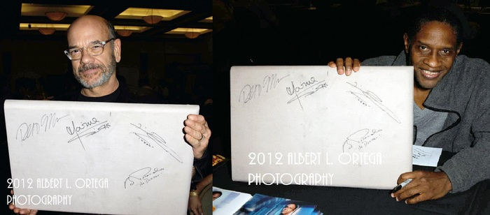 """Robert Picardo """"The Doctor"""" and Tim Russ """"Tuvok"""" signed our Bridge Wall Panel"""