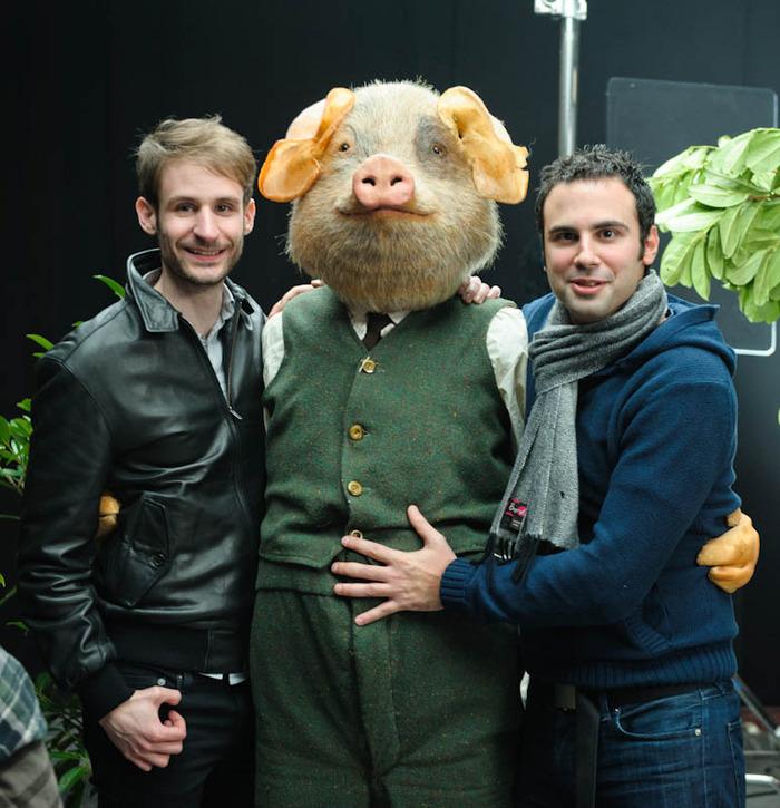 Matt (Left), Mark (Right), Piggy in the middle.