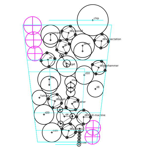 A result from the packing system (note everything is packed as assemblies of circles - it used to be more complex, but this turned out way faster in practice).