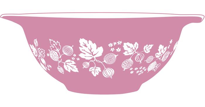 Pink Gooseberry Pyrex Tea Towel