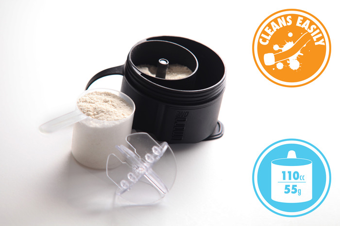 Store large quantities of supplements within the lid!
