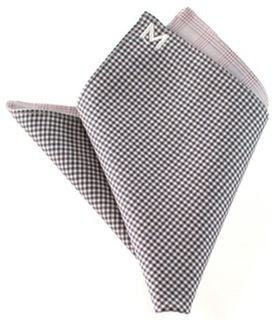 """Margo Petitti super 120's reversible wool pocket square in a dark purple and white check with a light pink plaid on reverse side (10"""" by 10"""")"""