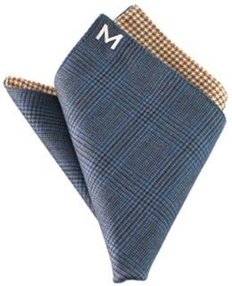 """Margo Petitti super 120's reversible wool pocket square in a royal blue glen plaid with yellow, green, and brown houndstooth check on reverse side (10"""" by 10"""")"""