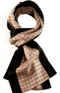 """Margo Petitti super 150's brown and white check wool scarf edged in black doeskin finish cashmere (9.5"""" by  70""""- style name """"Buck"""")"""