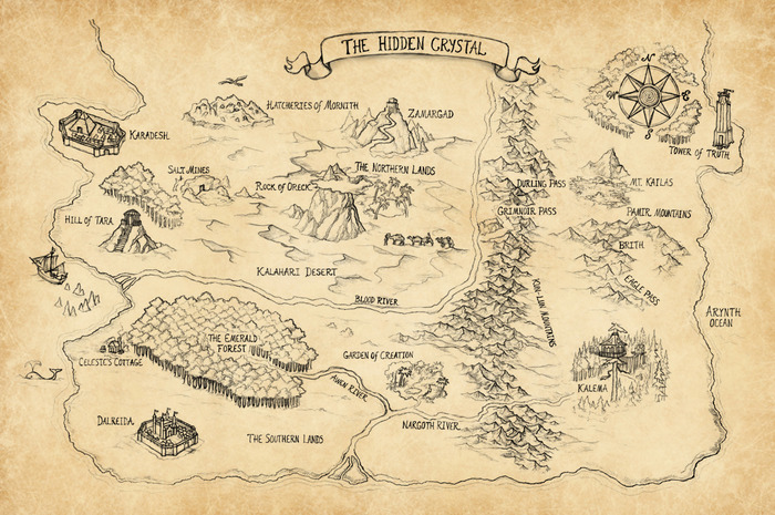 """11.25"""" x 17.3"""" glossy poster print of the map of the land of The Hidden Crystal"""
