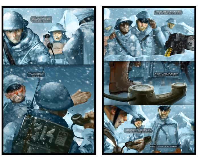 """Preview of Issue #0, """"Atheist in a Foxhole."""" Artwork by Eugene Huang and Daniel Dassault"""