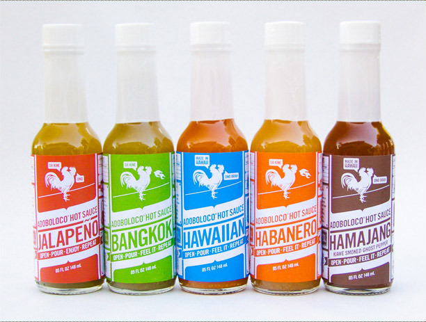 All of the Adoboloco flavors, from mild to very hot Kiawe Smoked Ghost Pepper.