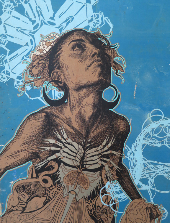 """Thalassa"" silk screen on found wood with hand painting and paper cut layers, by Swoon"