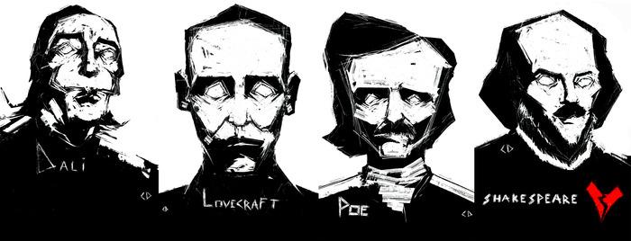 Dali, Lovecraft, Poe, Shakespeare.
