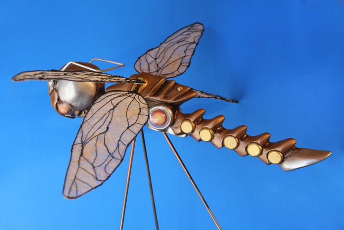 Dragonfly Steed with wings of twisted wire and Asian rice paper